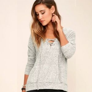 Lulus Slow Motion Heather Grey Lace-Up Hoodie